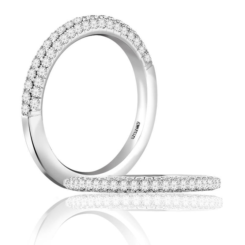 A  Jaffe 18kt White Gold Pave Setting Wedding Band Sixty-One