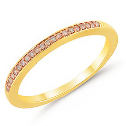 10kt .10ct pink diamond stackable band