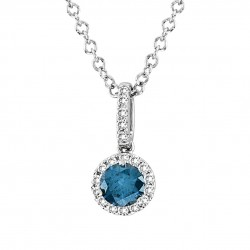 14K White Gold Necklace With a Blue Diamond Center and Round Brilliant Halo