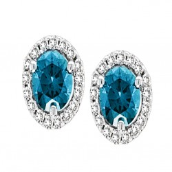 14K White Gold Blue Diamond Earrings With Round Brilliant Halo