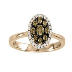 14K White and Chocolate Diamond Ring 0.34ctw