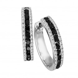 One Pair Of Oval Huggie Style Diamond Earrings Set In 14K White Gold