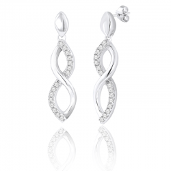 Silver Sterling Diamond Infinity Earrings