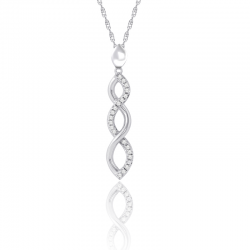 Silver Sterling Diamond Infinity Pendant Necklace