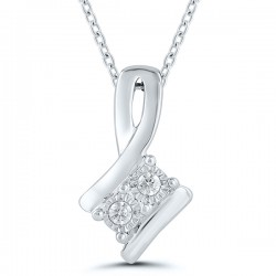 Sil Ribbon Two Stone d=.05cttw Pendant