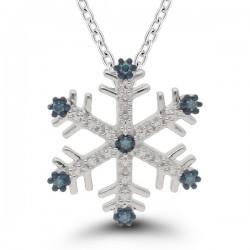 10kw Blue/White Dia Snowflake Pendant w/Chain .10cttw