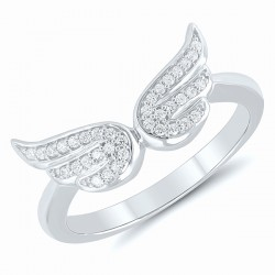 Sterling silver .10Tw Diamond Angel Wings Ring Sz 7