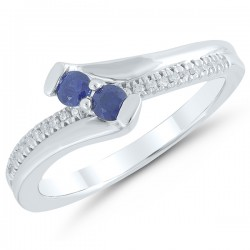 Sterling silver Sapphire & Diamond Ring