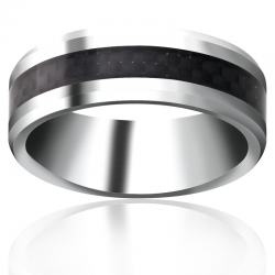 Titanium Beveled Band with Black Carbon Fiber in-lay
