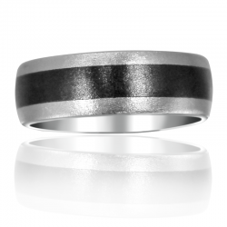 Vitalium Ceramic Inlay Stone Wedding Band