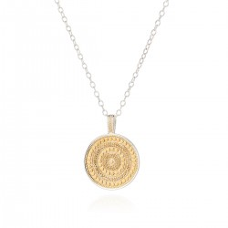 """Large Beaded Disc Necklace, 30"""" (Reversible)"""