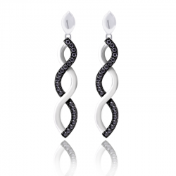 Silver Sterling Black Diamond Infinity Earrings