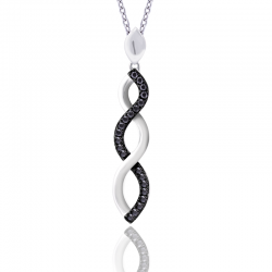 Silver Sterling Black Diamond Infinity Pendant Necklace