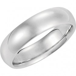 14K White Gold Comfort-Fit Plain Wedding Band 6mm