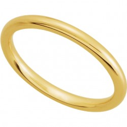 14K Yellow Gold Comfort-Fit Plain Wedding Band 2mm