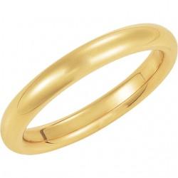 14K Yellow Gold Comfort-Fit Plain Wedding Band 3mm