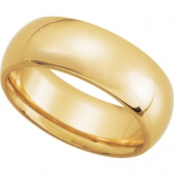 14K Yellow Gold Comfort-Fit Plain Wedding Band 7mm