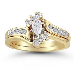10K Yellow Gold .38 ctw Diamond Marquise Halo Top Wedding Set