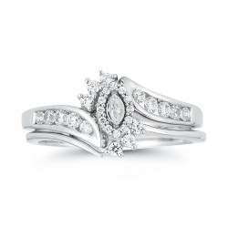 10K White Gold .38 ctw Diamond Marquise Halo Top Wedding Set