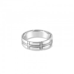 Sholdt 14K White Gold Approx 5Mm Plaid Design Band