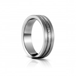 Sholdt 14K White Gold Approx 6.5Mm W/ 3- Sections Hammered Outer Row Or Hammered Center Band