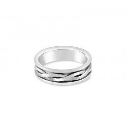 Sholdt 14K White Gold Mens Version Of R206B, Criss Cross Center With High Polish Rails Band