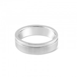 Sholdt 14K White Gold 2-Section Ring, Brushed Wide Part And High Polish Narrow Band