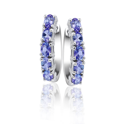 Sterling Silver Brilliant Violet-Blue Tanzanite Earrings