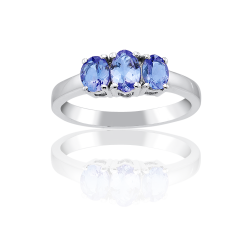 Oval Violet-Blue Tanzanite Three Stone Ring in Sterling Silver