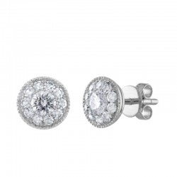 14kw 1.00ct tw Diamond Cluster Earrings