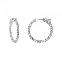 """14kw 1.20ct tw """"Inside Out"""" Diamond Hoop Earrings"""