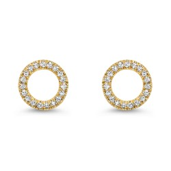 14kw Diamond Circle Earring