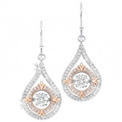 Two-Tone Sil/Rgp CZ Dangle Earrings