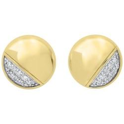 Diamond Button Asymmetrical Stud Earrings in 14k Yellow Gold (1/6ctw)