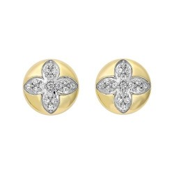 Diamond Medallion Flower Button Stud Earrings in Yellow Gold (1/4ctw)