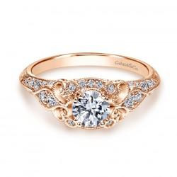 Gabriel & Company 14Karat Rose Gold .31ct Dia Semi- Mount