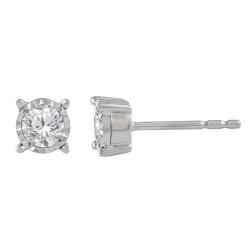 Sil .50cttw Illusion Set Diamond Studs