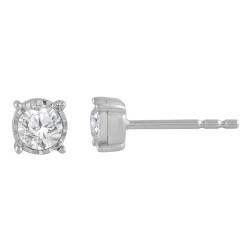 Sil .33cttw Ilusion Set Diamond Studs