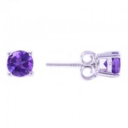 14W Round Amethyst Stud February Birthstone Earrings