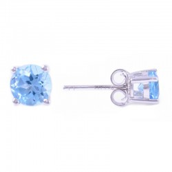 14W Round Blue Topaz Stud December Birthstone Earrings