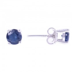 14W Round Sapphire Stud September Birthstone Earrings