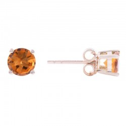 14Y Round Citrine Stud November Birthstone Earrings
