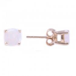 14Y Round Opal Stud October Birthstone Earrings