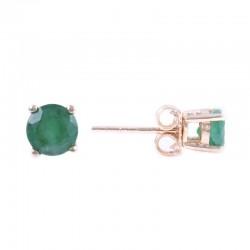 14Y Round Emerald Stud May Birthstone Earrings