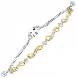 Sil/ygplate Dia Infinity Link Bolo Bracelet .13cttw
