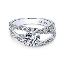 14K White Gold Round Free Form Diamond Engagement Ring