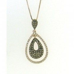 0.45cttw white & champagne diamond drop pendant