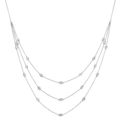 Sil Three Strand  Station Necklace with Blue Topaz Briolette .25cttw