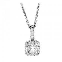 0.25cttw 0.15ct diamond cushion w/ halo pendant