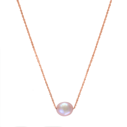 14K Rose Gold 8.5-9Mm White Freshwater Potato Pearl Necklace